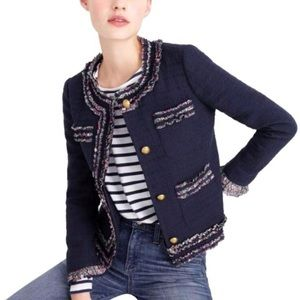 J Crew Navy Lady Jacket with Liberty ruffle trim